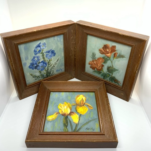 Primitive Set of Three Folk Art Flower Paintings